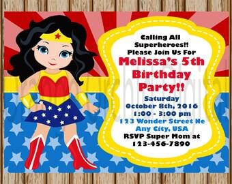 """Wonder Woman Birthday Invitations- Wonder Woman Birthday Party- Girls Superhero Birthday- Superhero Invitations - 5"""" x 7"""" size- Digital Item"""