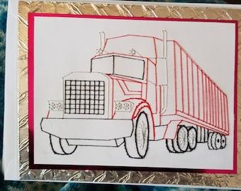 Semi Truck Greeting Card