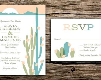 Modern Desert Wedding Invitation Set // Arizona Wedding Desert Mountains Peach Green Turquoise Mid Century Cactus Invitations Cards Retro