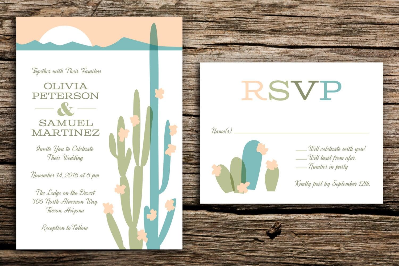 Modern Desert Wedding Invitation Set Arizona Wedding Desert