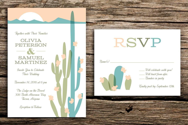 Modern Desert Wedding Invitation Set // Arizona Wedding Desert