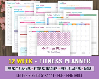 12 Week Fitness Planner, Fitness Journal, Weight Loss Journal, Fitness Tracker, Weight Loss Planner, Fitness Planner Printable, 8.5x11
