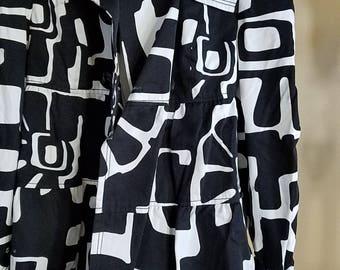 Black and White Op Art Spring coat