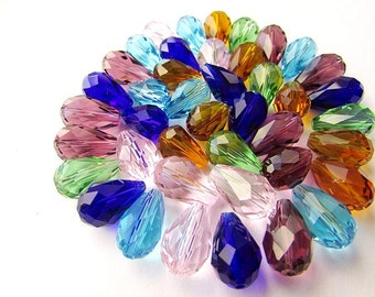 10 pcs Teardrop Glass Beads Mixed Color Beads 10 x 15 mm Glass Beads Crystal Glass Faceted Beads Jewelry Supplies (10)