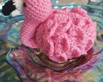 Amigurumi pink flamingo