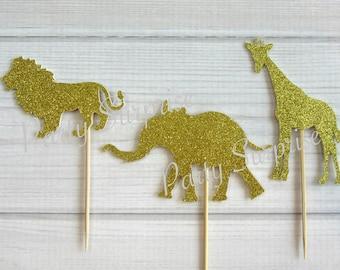 Gold Safari Cupcake Toppers Gold Glitter Giraffe Elephant Lion Toppers Giraffe Cake Topper Jungle Zoo Animal Party Decor Gold Glitter Safari
