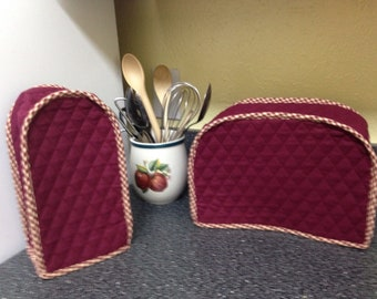 Burgundy Primitive Kitchen Decor 2 Slice Toaster Can Opener Dust Cover Rustic Kitchen Small Appliance Covers Set Ready to Ship