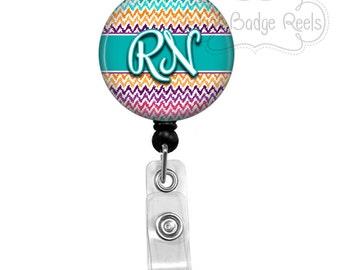 Retractable Badge Holder - RN Badge Reel -  Chevron RN Badge Holder - Retractable Badge Reel - Registered Nurse Badge Reel - 0151