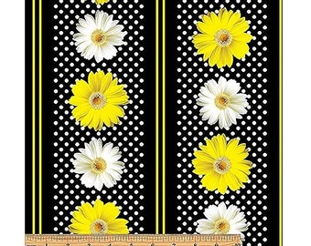 Oops A Daisy~Flowers Stripe Cotton Fabric By Benartex