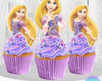 PRINTABLE Disney Princess RAPUNZEL Cupcake Toppers, Cupcake Picks, 2 Designs