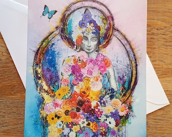 Buddha and the Butterfly ...   Art Card Blank inside