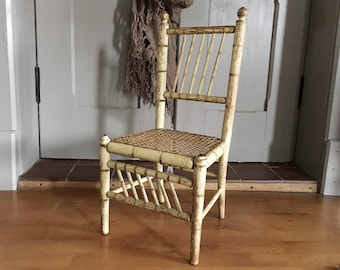 French Vintage Childs Chair, Original Chippy Paint, Rattan Seat, Shabby Chic