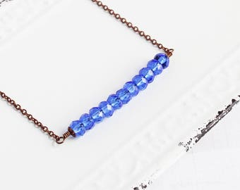 Cobalt Blue Necklace, Bead Bar Necklace on Antiqued Copper Plated Chain, Sapphire Blue Faceted Glass, Fashion Jewelry