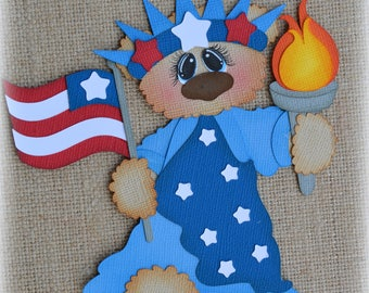 Liberty Bear Americana 4th of July Premade Scrapbooking Embellishment Paper Piecing