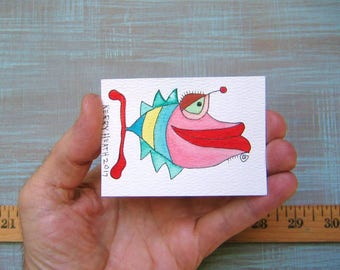 Fish-J52, Original ACEO Watercolor, Art Trading Card, Miniature Painting, by Fig Jam Studio