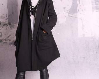 Extravagant black coat, asymmetric coat, quilted cotton jacket, black sweatshirt, black blazer, hoodie - UM-054-QC