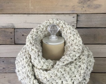 Chunky Infinity Scarf : No. 1010 | Circle Scarf | Handmade | Loop Scarf | Shown in Beach Sand | Choose your color
