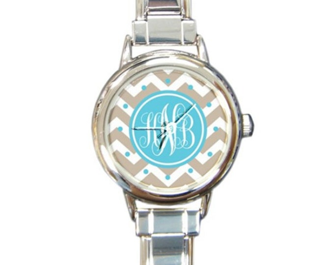 Monogrammed Italian Charm Watch- Mix and Match Patterns and Colors