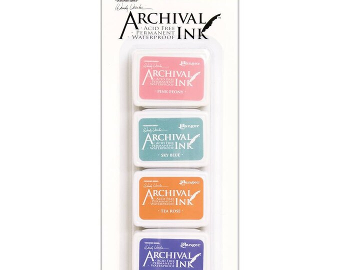 New! Wendy Vecchi Archival Mini Ink Pad Kit - Set # 3 (Pink Peony, Tea Rose, Sky Blue, and Violet)