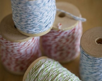 25 yards Colored Bakers Twine on a Wood Spool - Choose blue, green or orange cotton twine