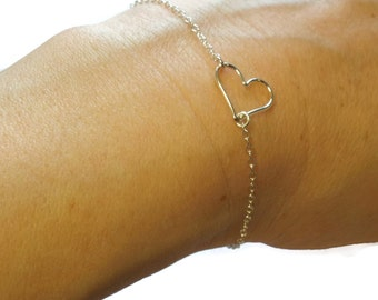 Sterling Silver Floating Heart Bracelet