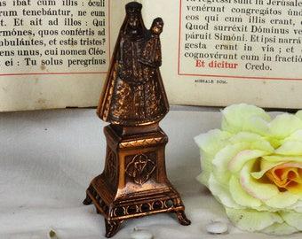 Mini Statue Madonna Notre Dame de Scherpenheuvel Montaigu Spelter HTF collector