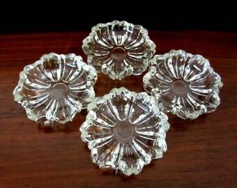 Set of Four Vintage Clear Glass Boudoir Style Ashtrays