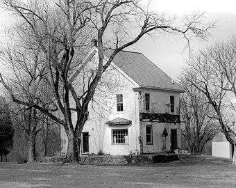 Rural Farmhouse  Photograph in Black and White, Bucks County, Pennsylvania, Office decor, Floral Photography, Home Decor, Wall Art, Print