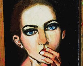 Original oil painting.Once bitten twice shy, portrait, oil painting, 12*8