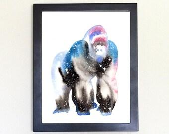 Gorilla Galaxy Spirit Animal Watercolor Art Print 8x10