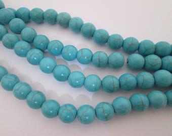 30 perles rondes bleu turquoise en howlite 8 mm