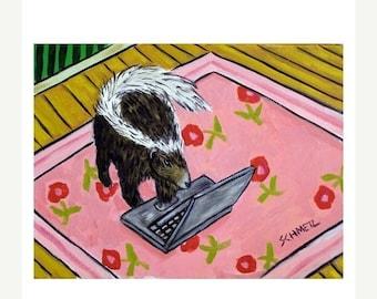25% off Skunk Working From Home Art print  JSCHMETZ modern abstract folk pop art AMERICAN ART gift
