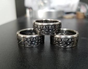 Barber silver half dollar coin ring