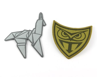 Blade Runner inspired iron-on patches, Origami Unicorn Patch, Tyrell Owl Patch (free shipping)