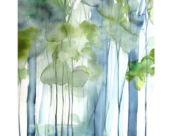 Landscape Artwork Painting - New Growth - Watercolor - 11x14 Giclee Print of Original Painting - Landscape with Green Trees - Birch Trees