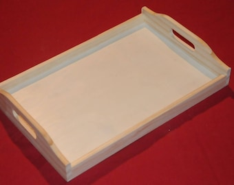 raw blank with handles wooden tray