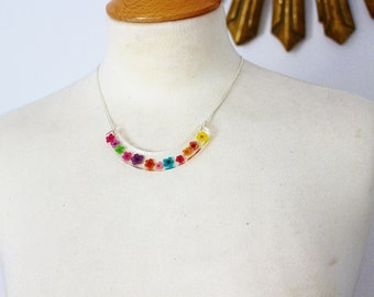 Real Flower Necklace, Flower Bib, Rainbow Necklace, Resin Necklace, Gift for Her, Jewelry Gift, Modern Necklace