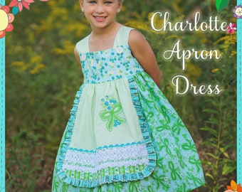The Cottage Mama Girls Paper Sewing Pattern Charlotte Apron Dress 6 months-8 years