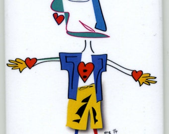 PeaKasso King of Hearts - Expect the Unexpected. It's Less Stressful (Whimisical Magnet)