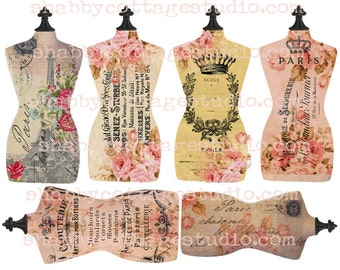 INSTANT DOWNLOAD Torso Tags Dressmaker Form French Text and Florals DIGITAL