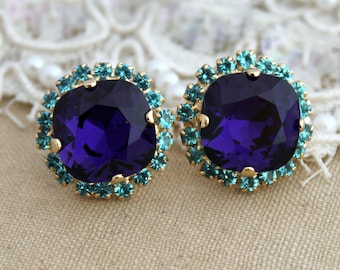 Blue Teal Purple Rhinestone Stud earrings, Teal Purple Stud earrings, Purple Earrings, Swarovski earrings, Purple stud crystal earrings,.