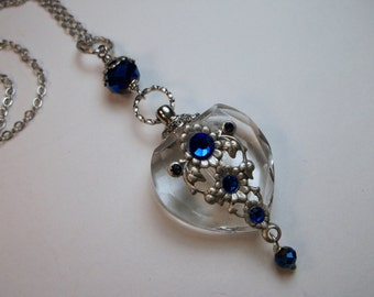 Perfume Bottle Necklace, Crystal Heart Necklace, Crystal And Brass Perfume Or Essential Oil Bottle Necklace