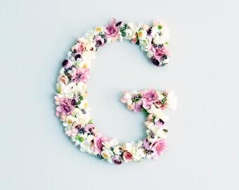 Floral Letters baby room, monogram letter, nursery decor, Baby shower gift, Wedding decor, Flower letter, baby pink flowers, gift for her