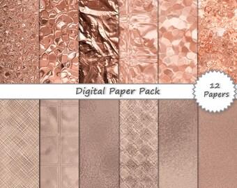 Metallic Rose Gold Foil DIGITAL PAPER PACK // digital scrapbook paper 12x12 - instant download photoshop backgrounds - printable backgrounds