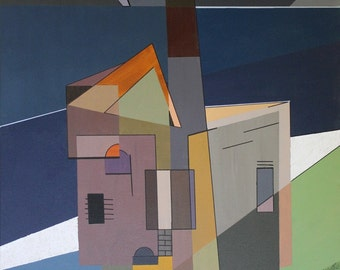 Synthetic cubist landscape of Towan Roath engine house, Chapel Porth