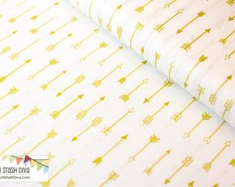 Bright White Metallic Arrows From Michael Miller's Arrow Flight
