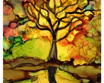 "Original Alcohol Ink Art Print ""Reflection"" Tree Landscape"