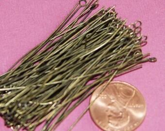 100 pcs of Antiqued Brass Eye Pin - 2 inch long - 24 gauge