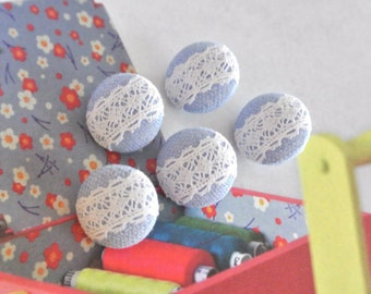 Handmade Small Retro Wedding Blue White Flower Floral Lace Fabric Covered Buttons, Flat Back Buttons, 0.75 Inches 5's