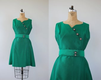 1960s vintage party dress / 60s emerald green party dress / 1960s rhinestone cocktail dress / 60s mad men style holiday dress / medium large